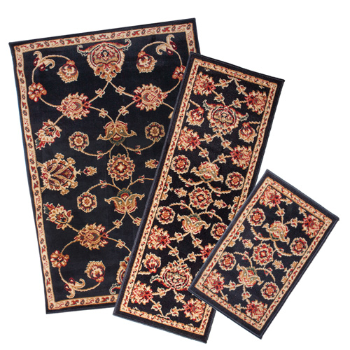 'Black Apex 3PC Rug Set'