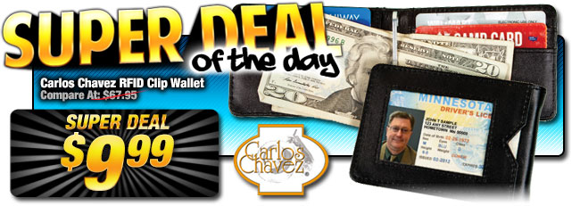 Below Cost! 86% Off Carlos Chavez RFID Clip Wallet, $9.99