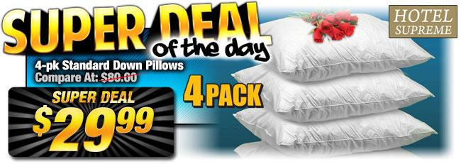 Final Closeout: 63% Off 4-Pk. Down Pillows, Super Deal $29.99